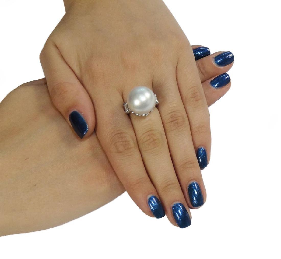 Platinum Pearl Emerald Cut Diamond Ring - 5