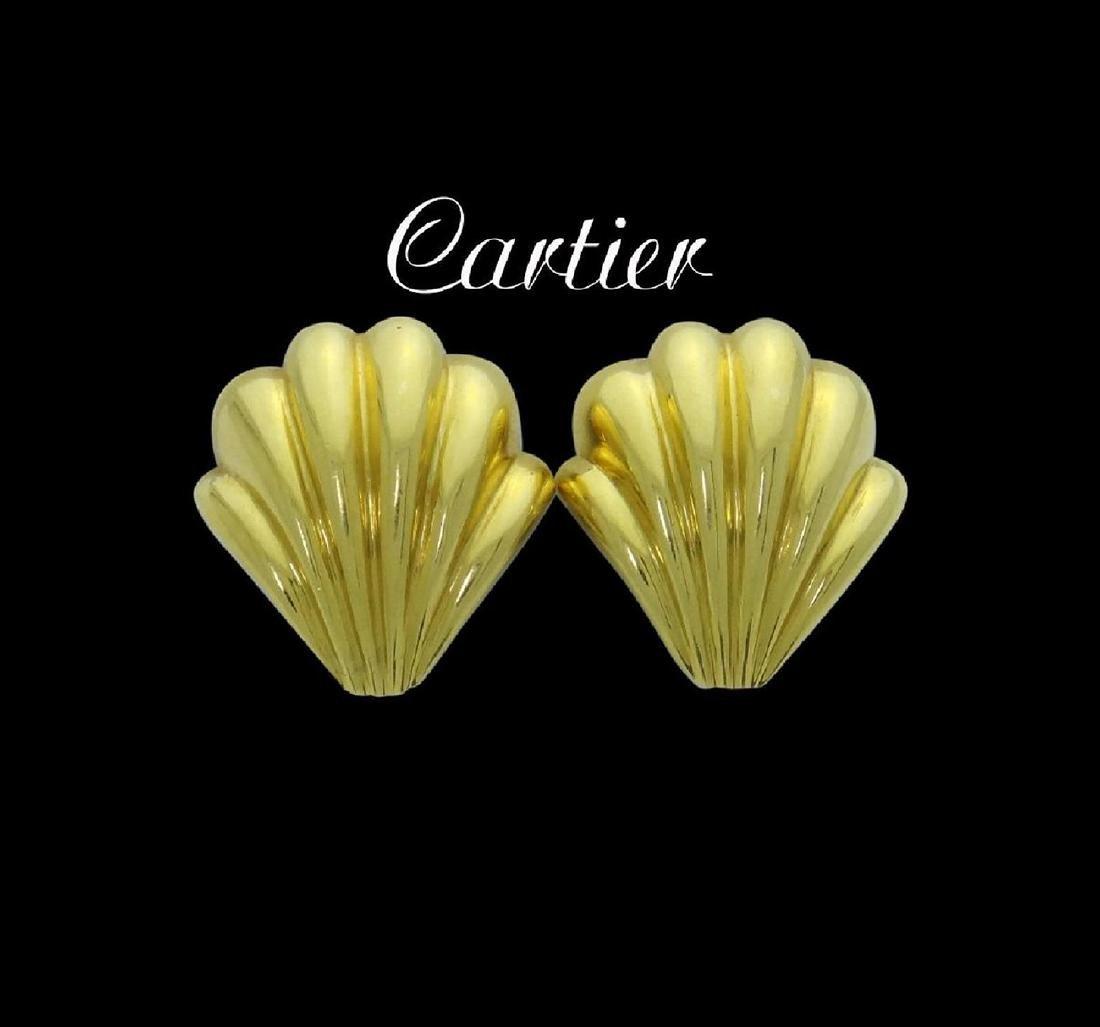 Estate Cartier 18k Yellow Gold Shell Clip on Earrings