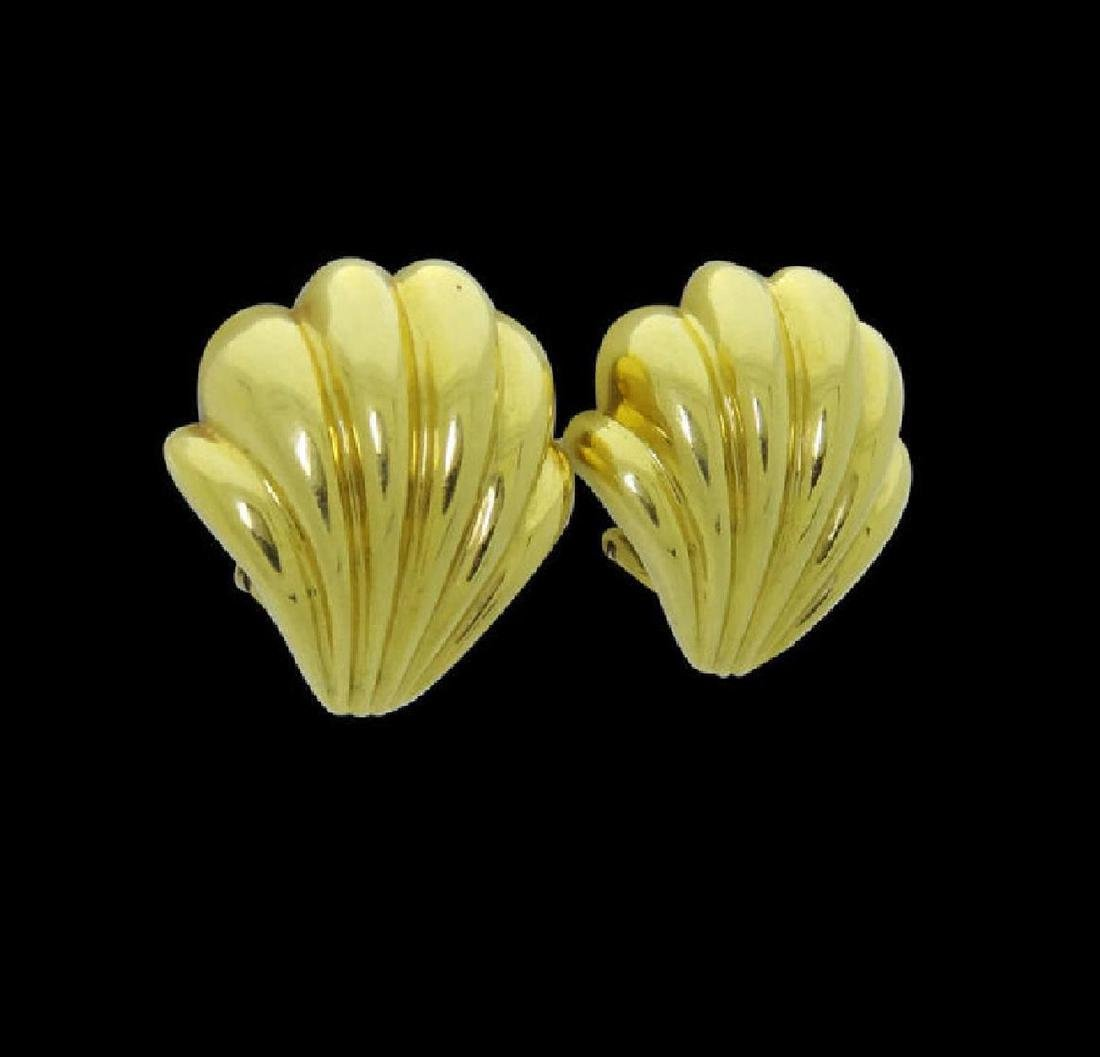 Estate Cartier 18k Yellow Gold Shell Clip on Earrings - 2