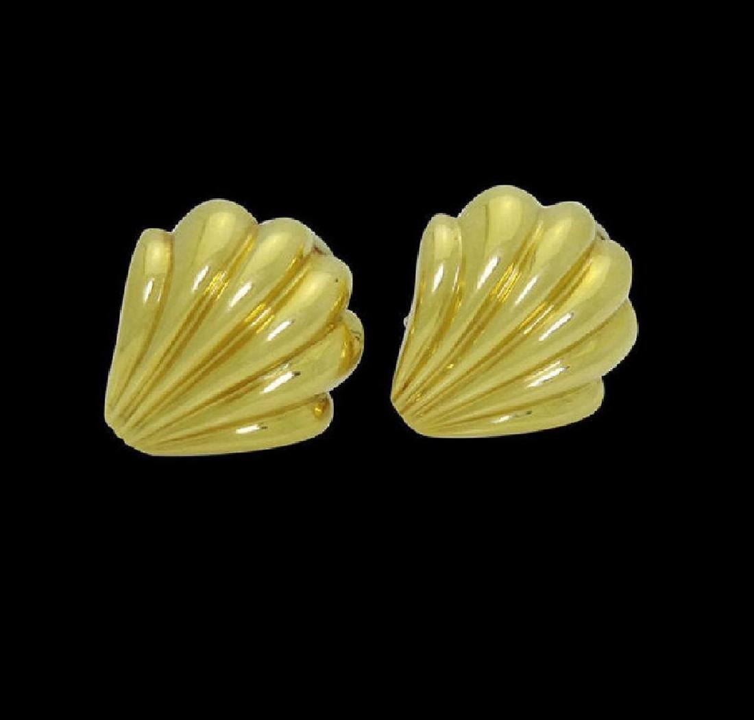 Estate Cartier 18k Yellow Gold Shell Clip on Earrings - 4