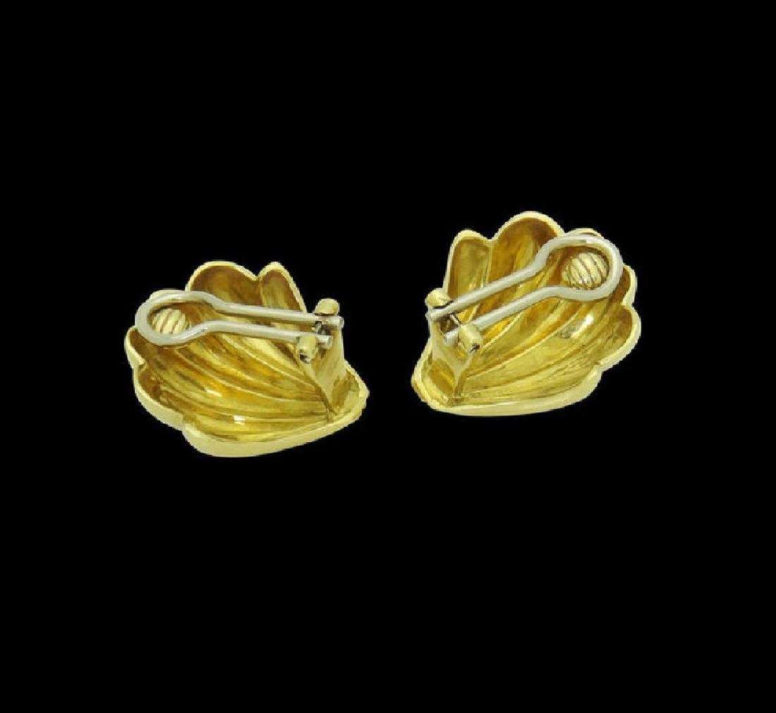 Estate Cartier 18k Yellow Gold Shell Clip on Earrings - 5