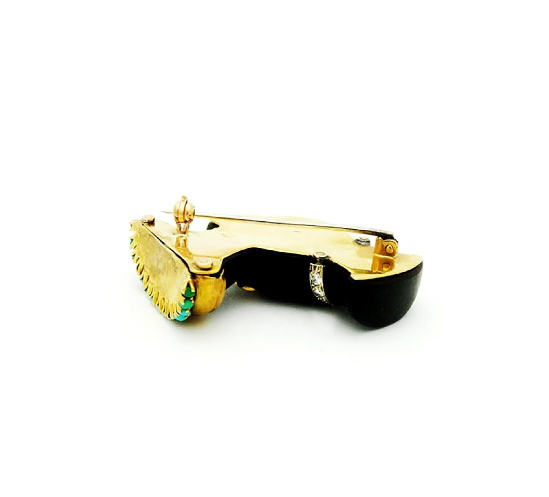 Cartier Blackamoor 14k Enamel Turquoise & Diamond Pin - 2