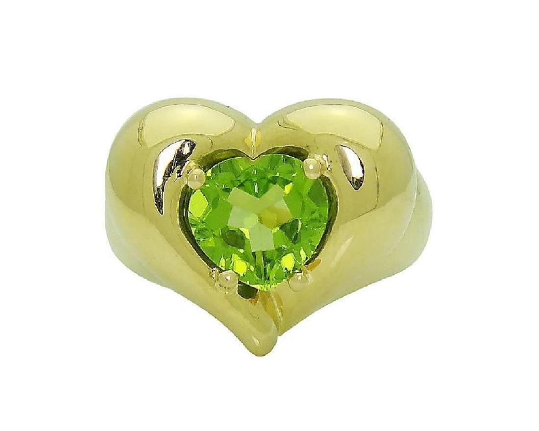 Van Cleef & Arpels 18k Y Gold Heart Shape Peridot Ring