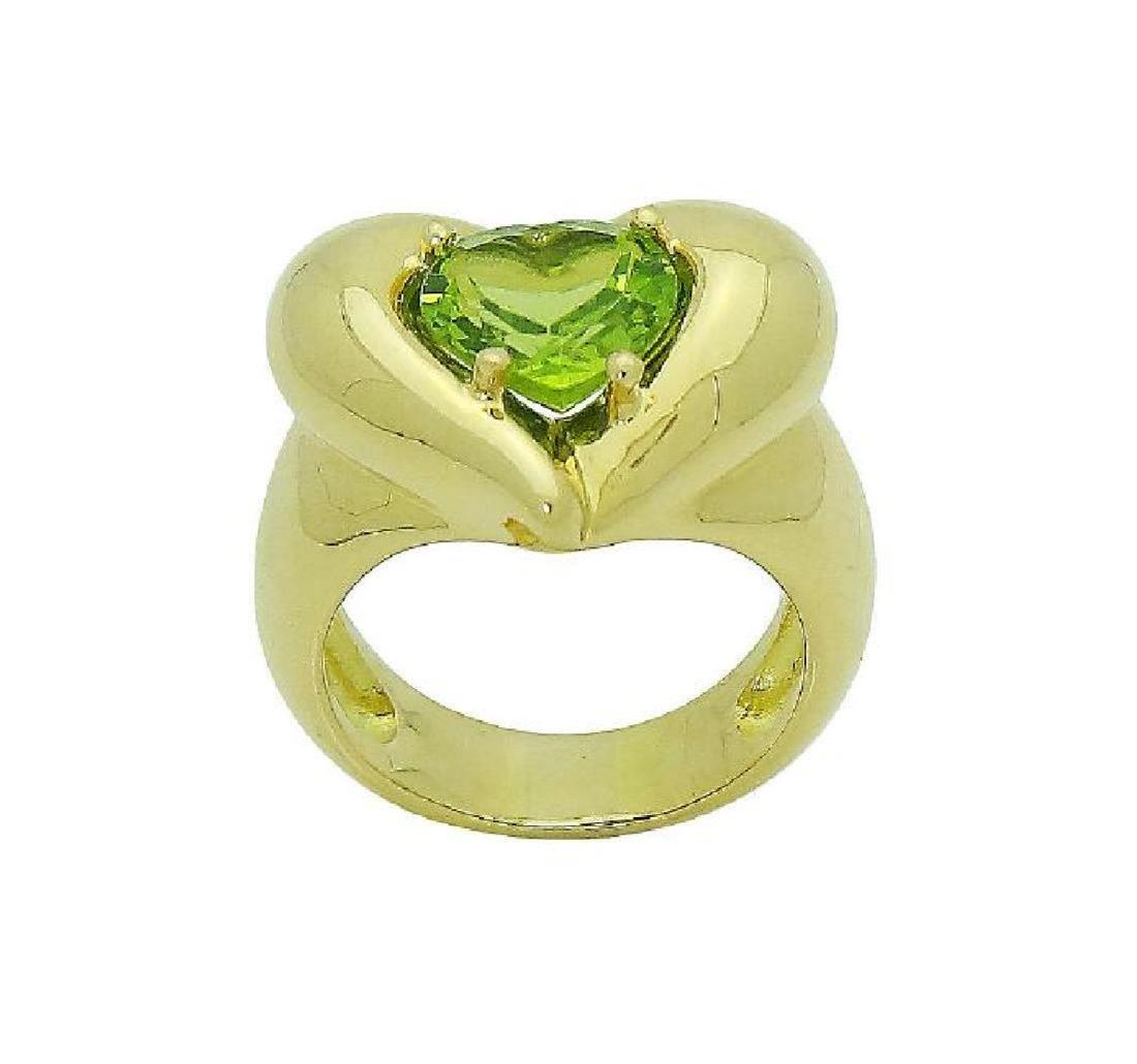 Van Cleef & Arpels 18k Y Gold Heart Shape Peridot Ring - 6