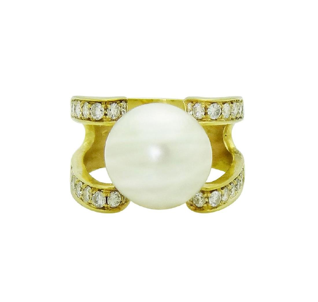 18K Designer Diamond and Pearl Ring size 10