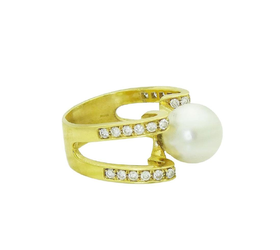 18K Designer Diamond and Pearl Ring size 10 - 2