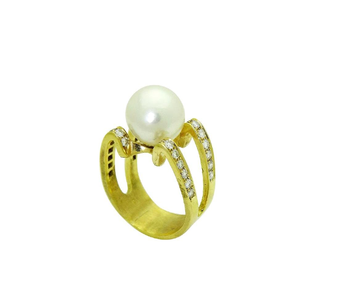 18K Designer Diamond and Pearl Ring size 10 - 4