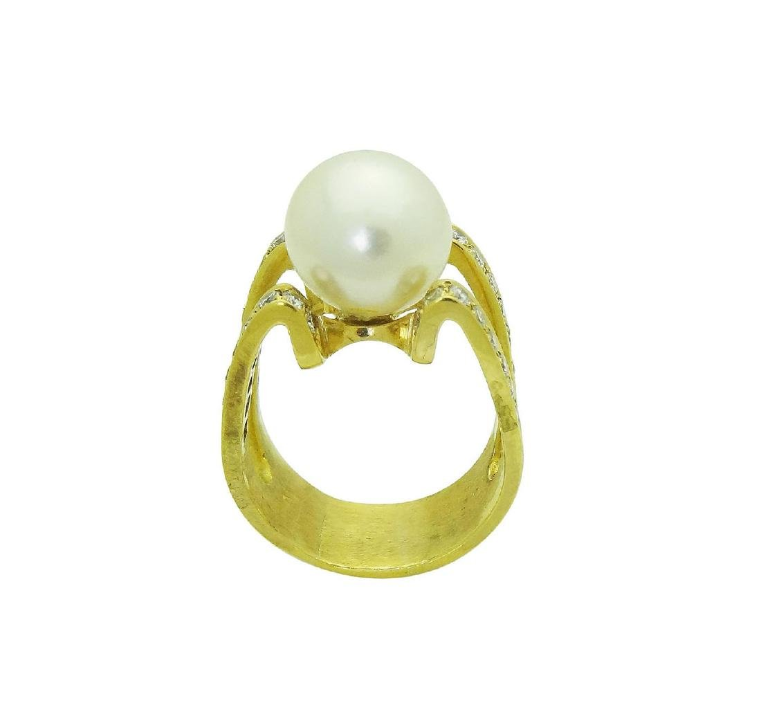 18K Designer Diamond and Pearl Ring size 10 - 5