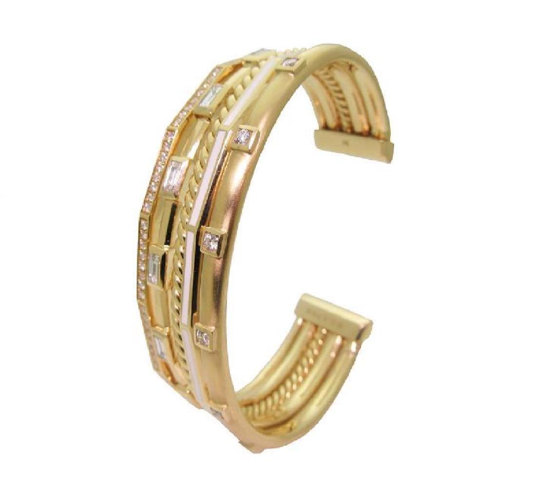 DAVID YURMAN 18k Gold Stax Medium Cuff Diamond Bracelet - 3