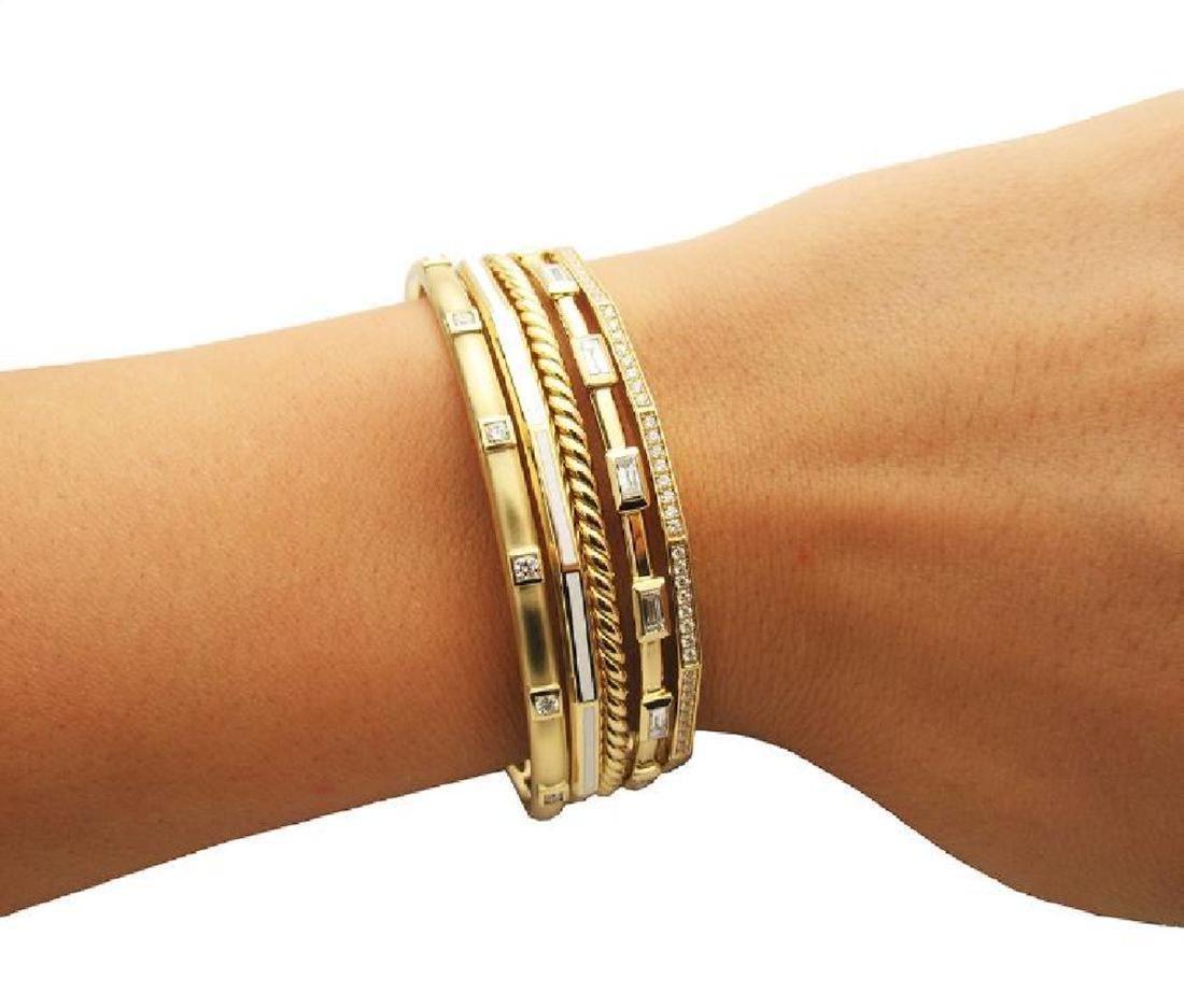 DAVID YURMAN 18k Gold Stax Medium Cuff Diamond Bracelet - 7