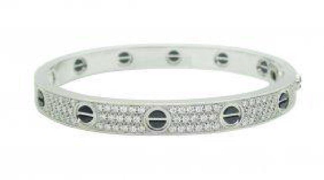 Cartier 18k Gold & Black Ceramic Diamond Paved Bracelet