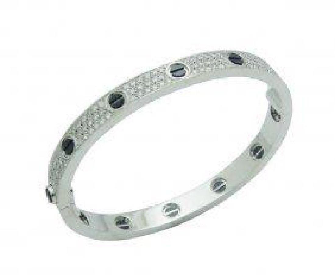 Cartier 18k Gold & Black Ceramic Diamond Paved Bracelet - 2