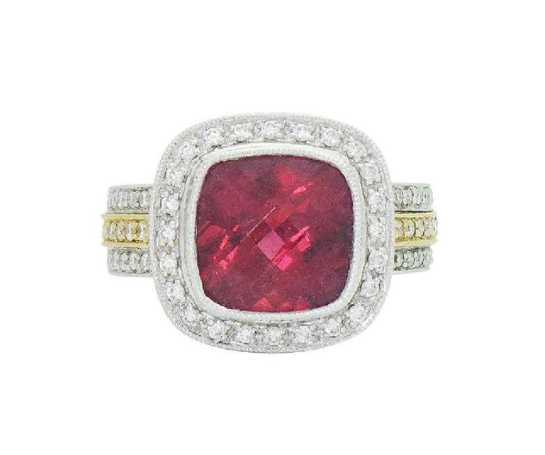 18K Two Tone Gold Rubellite & Diamond Ring Size 6.25
