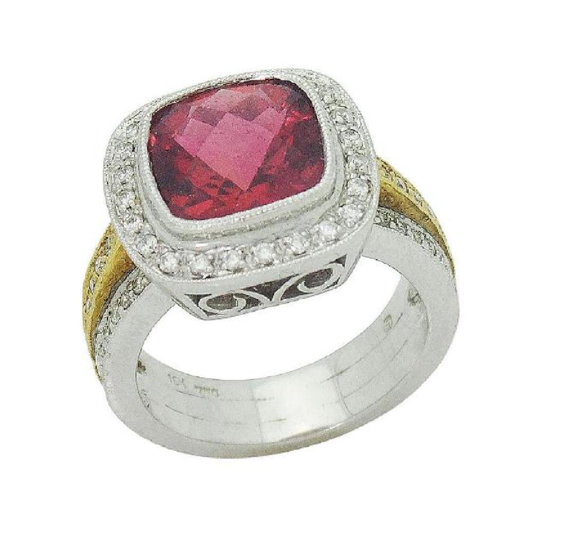 18K Two Tone Gold Rubellite & Diamond Ring Size 6.25 - 2