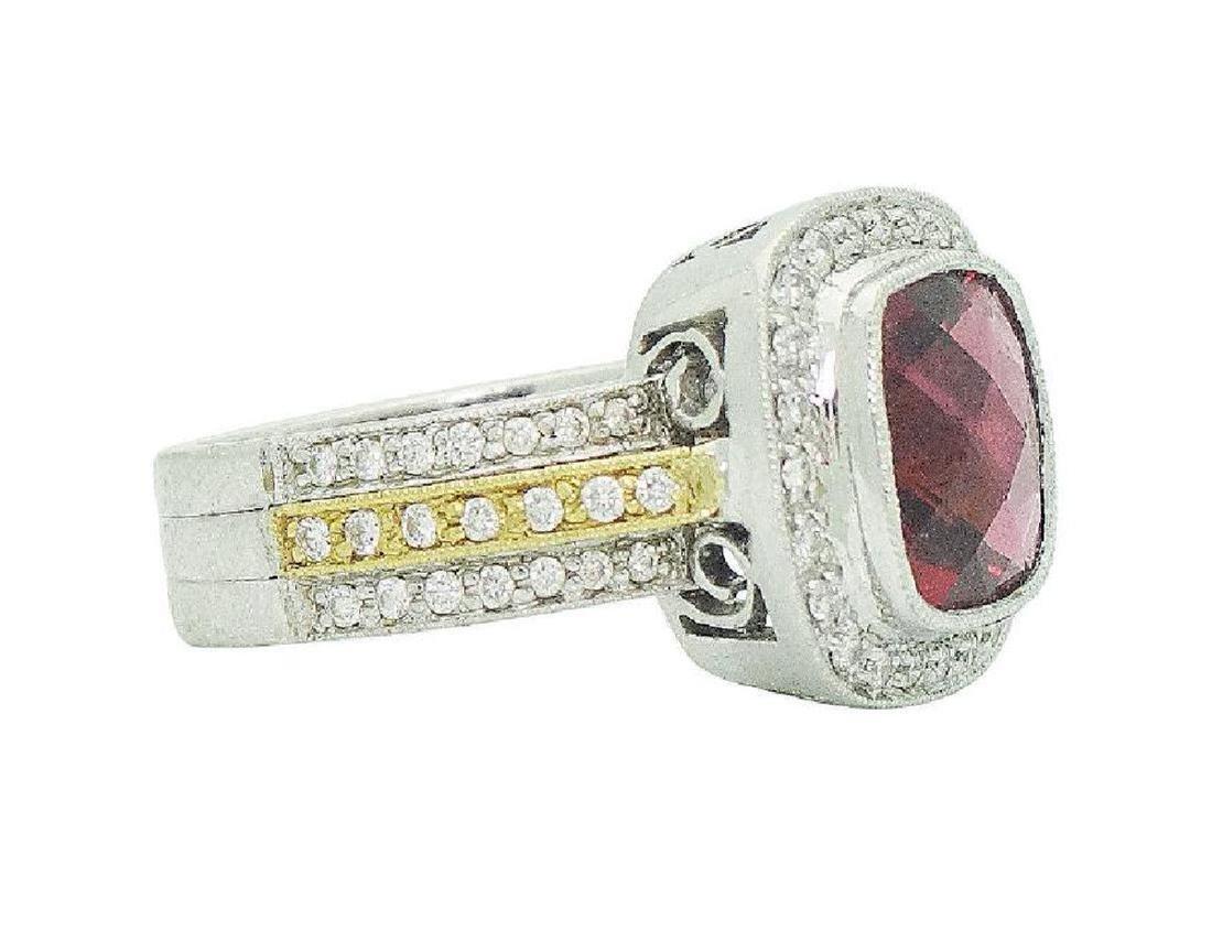 18K Two Tone Gold Rubellite & Diamond Ring Size 6.25 - 3