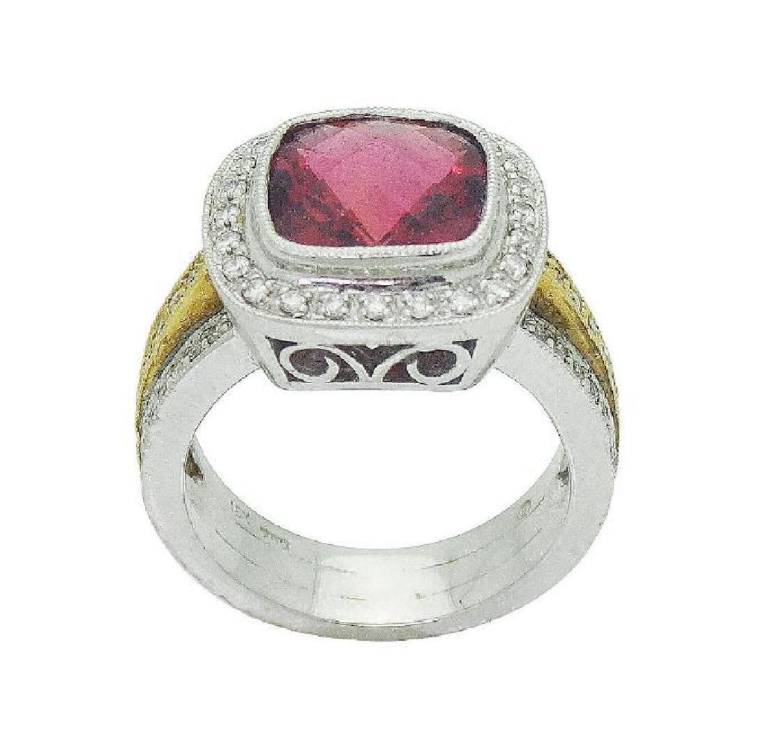 18K Two Tone Gold Rubellite & Diamond Ring Size 6.25 - 5