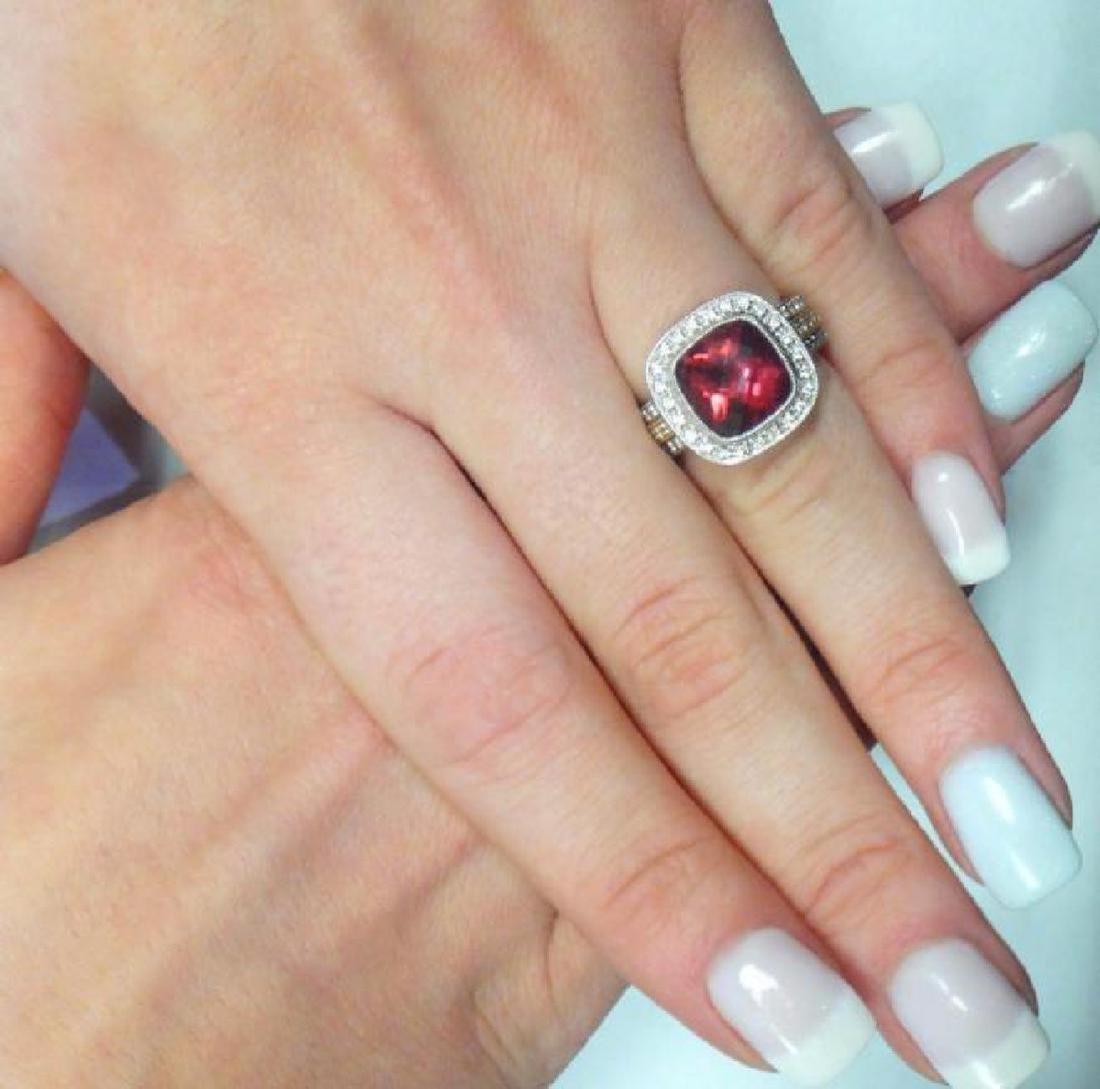 18K Two Tone Gold Rubellite & Diamond Ring Size 6.25 - 7