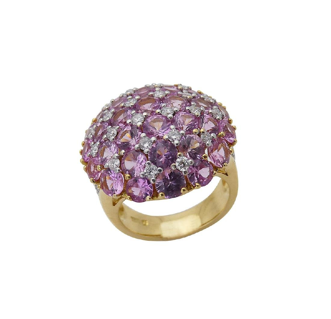 18K Y Gold 6.25 Carats TCW Diamond Pink Sapphire Ring