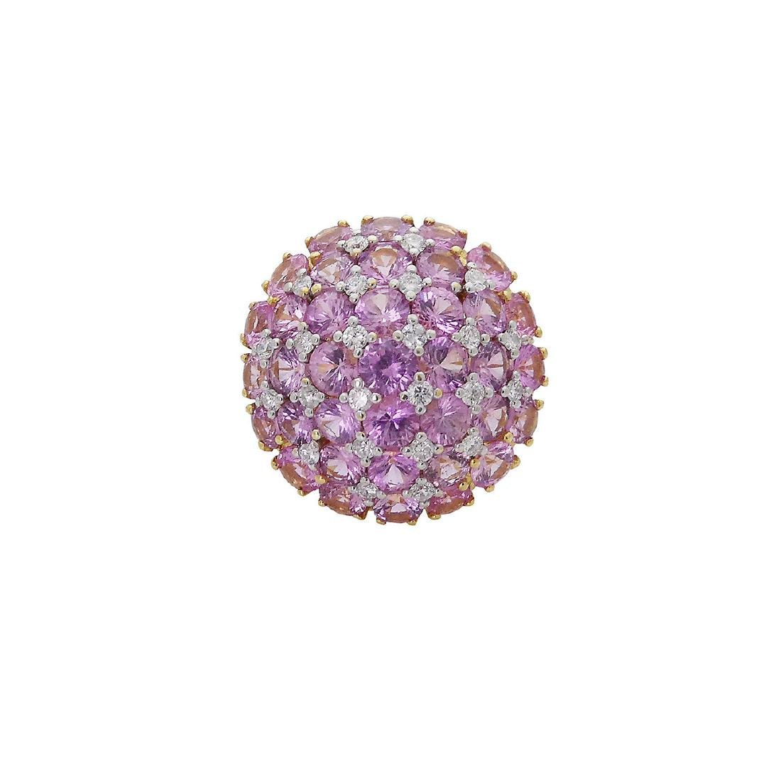 18K Y Gold 6.25 Carats TCW Diamond Pink Sapphire Ring - 3