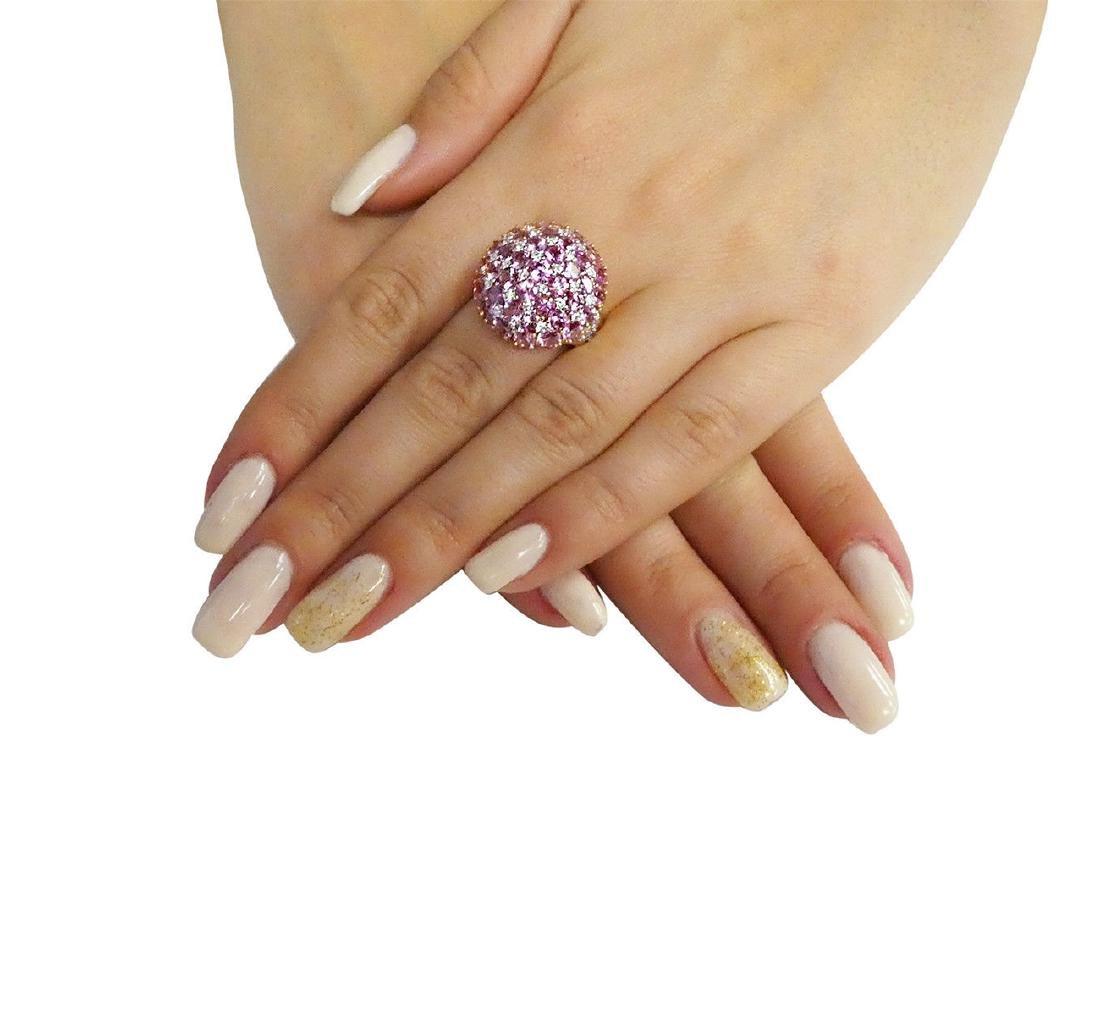 18K Y Gold 6.25 Carats TCW Diamond Pink Sapphire Ring - 4