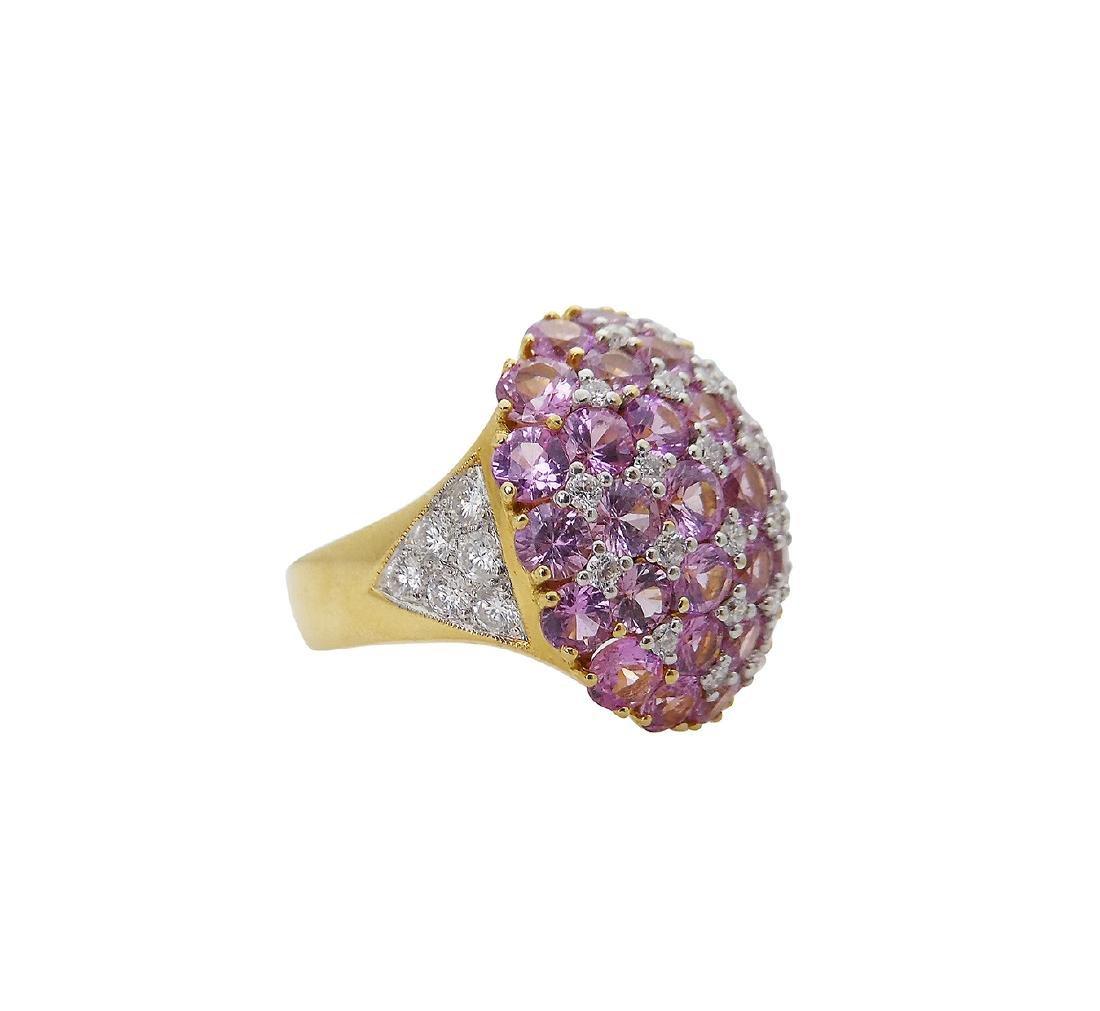 18K Y Gold 6.25 Carats TCW Diamond Pink Sapphire Ring - 5