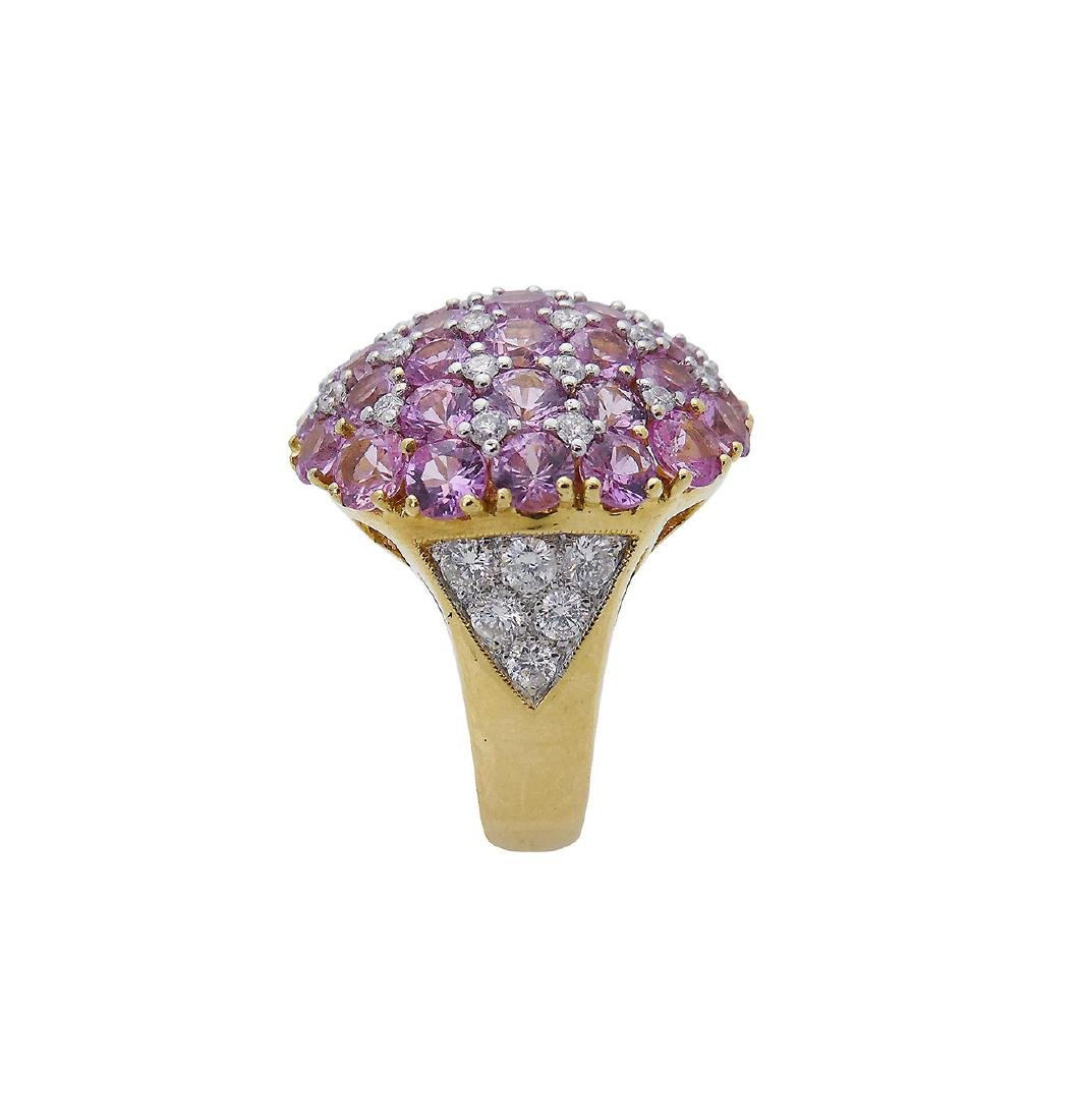 18K Y Gold 6.25 Carats TCW Diamond Pink Sapphire Ring - 6