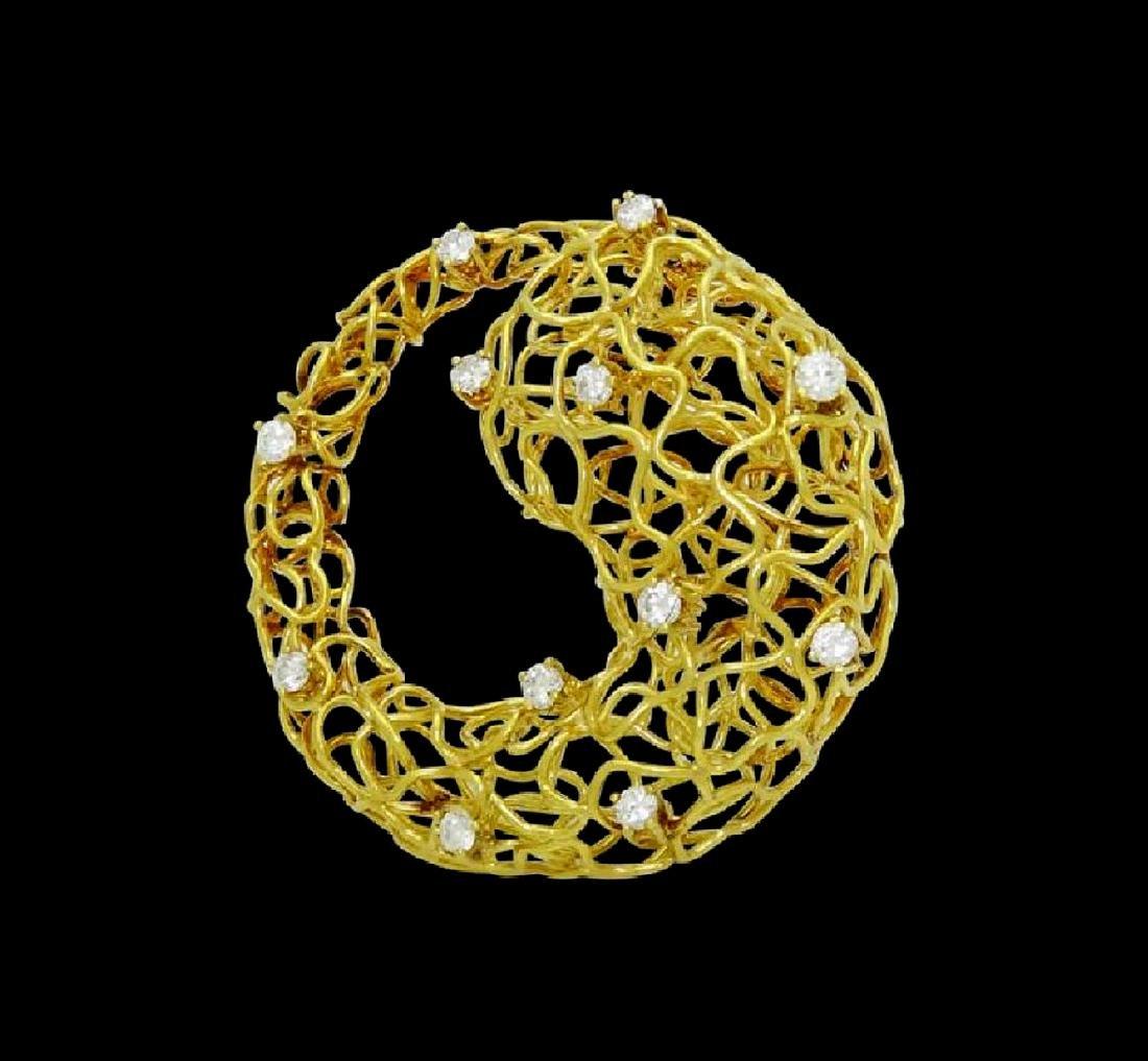 Designer 18k Yellow Gold & Diamond Wire Pin Brooch