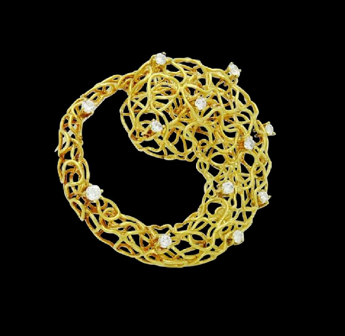 Designer 18k Yellow Gold & Diamond Wire Pin Brooch - 2