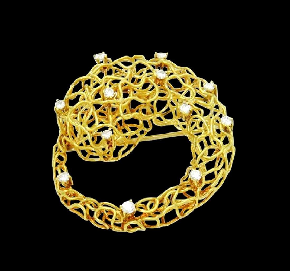 Designer 18k Yellow Gold & Diamond Wire Pin Brooch - 3