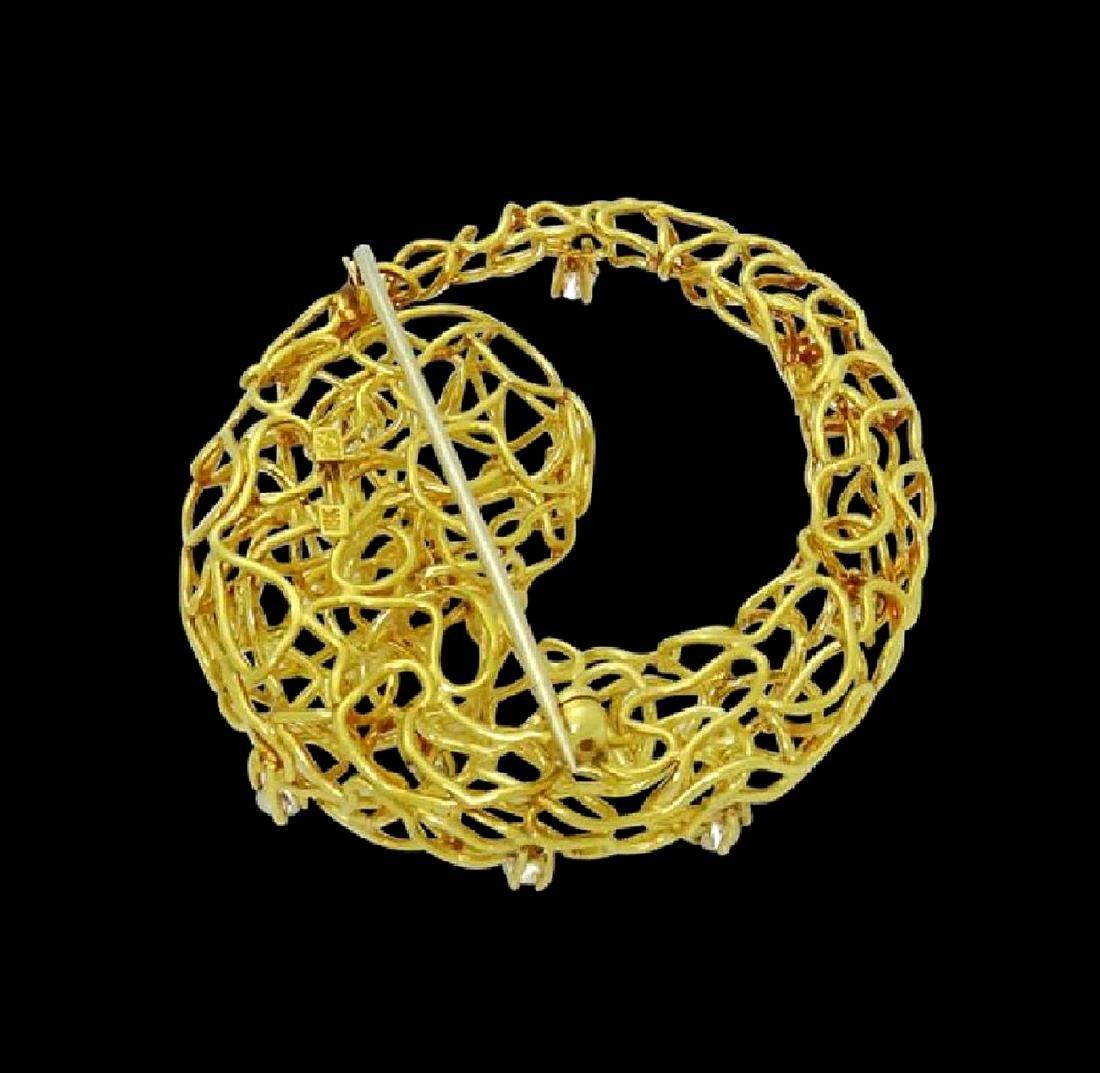 Designer 18k Yellow Gold & Diamond Wire Pin Brooch - 4