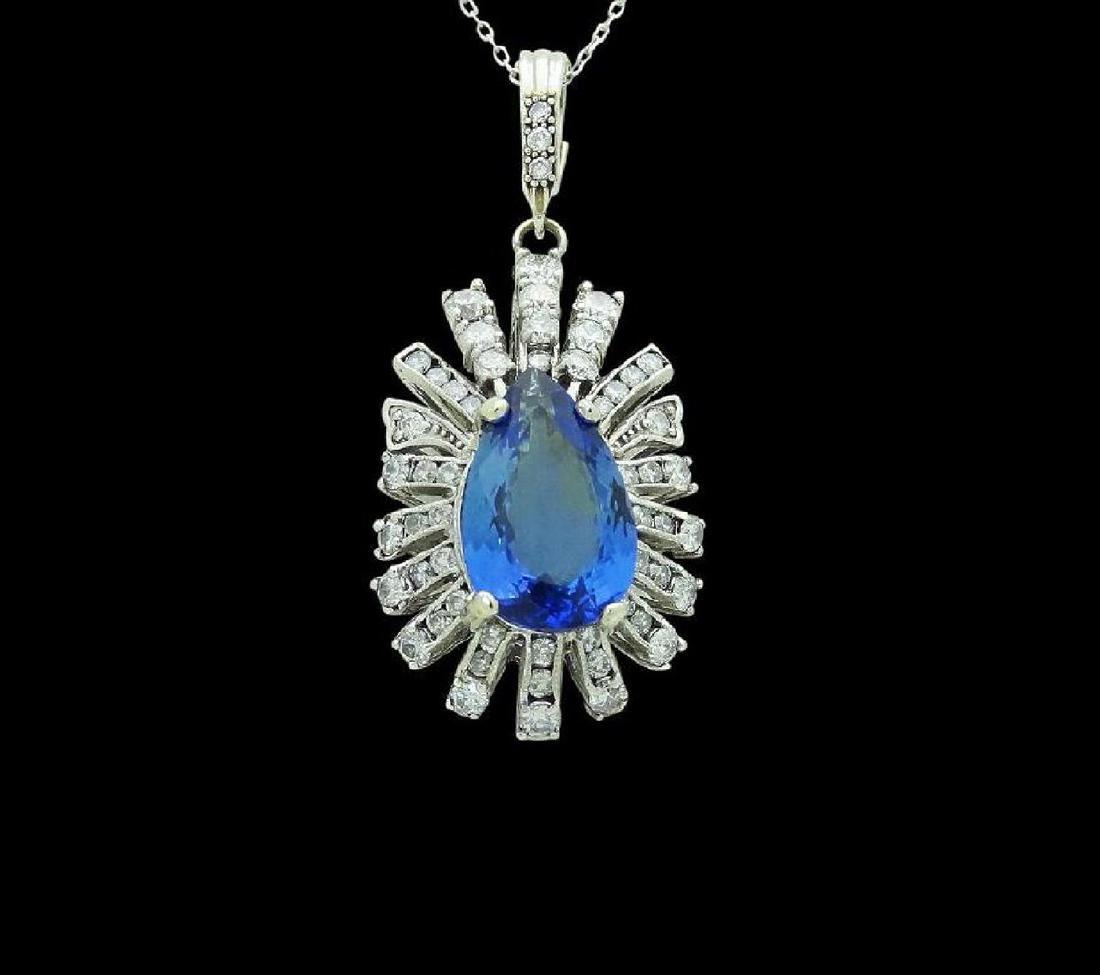 14k Gold 9.05 TCW Diamond & Tanzanite Pendant Necklace