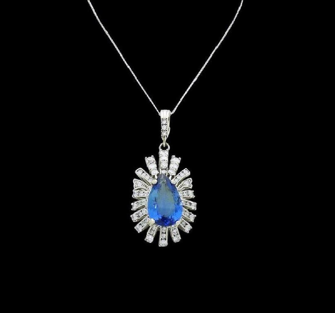 14k Gold 9.05 TCW Diamond & Tanzanite Pendant Necklace - 2