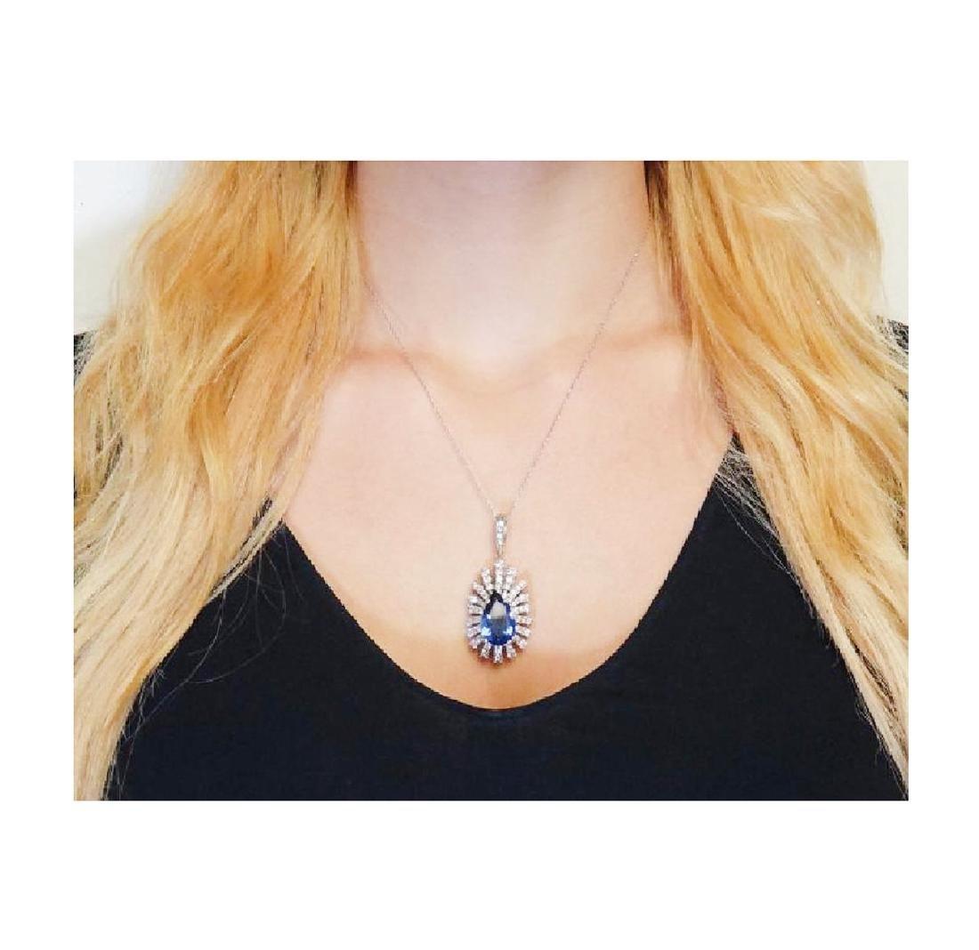 14k Gold 9.05 TCW Diamond & Tanzanite Pendant Necklace - 5