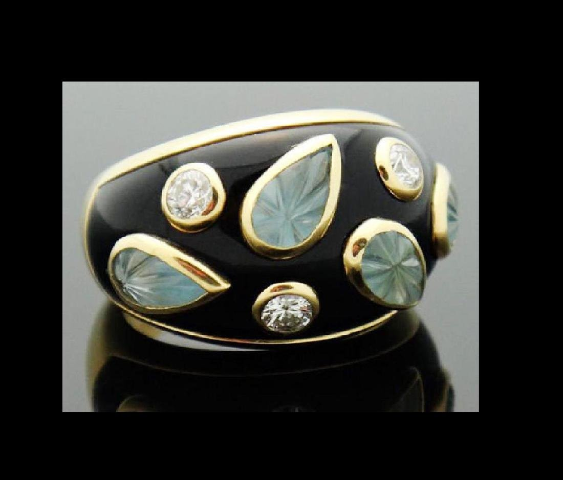 18k Cartier Diamond Aquamarine Enamel Dome Ring - 3