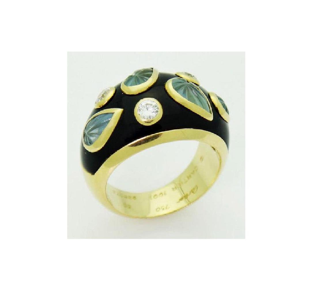 18k Cartier Diamond Aquamarine Enamel Dome Ring - 5