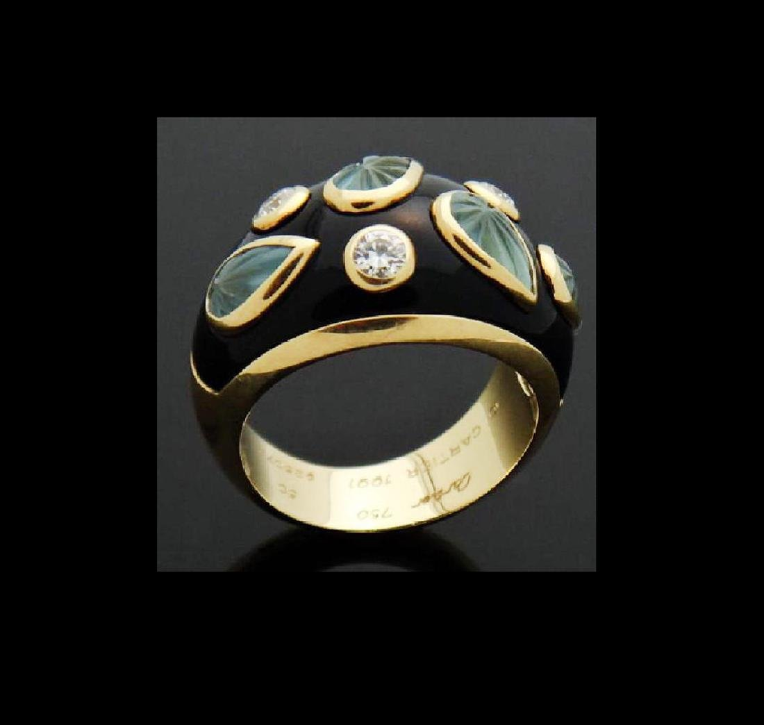 18k Cartier Diamond Aquamarine Enamel Dome Ring - 7