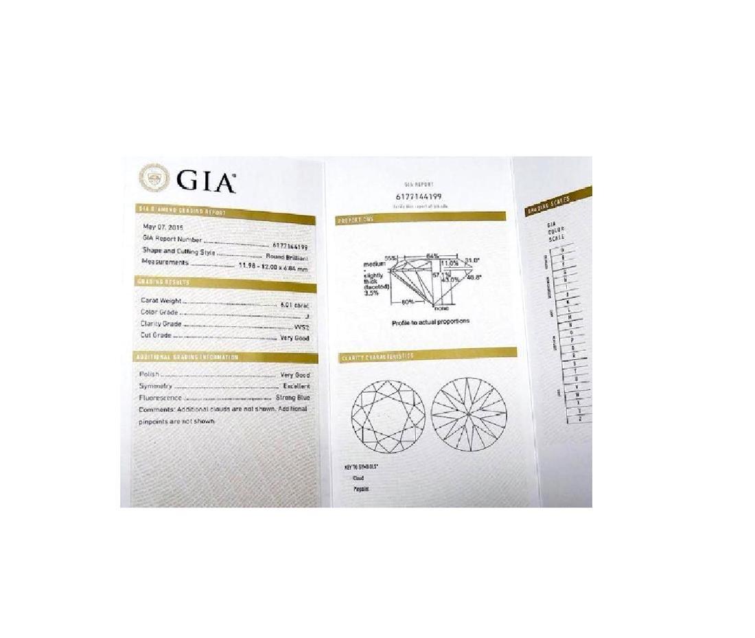 6.01 CARAT BRILLIANT ROUND GIA CERTIFIED DIAMOND VVS2 - 3