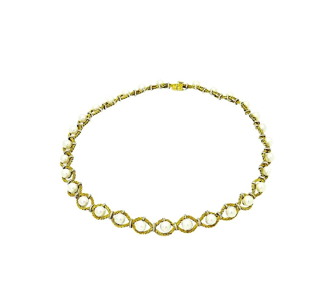 M. Buccelati 18k Two Tone Yellow Gold Necklace - 2