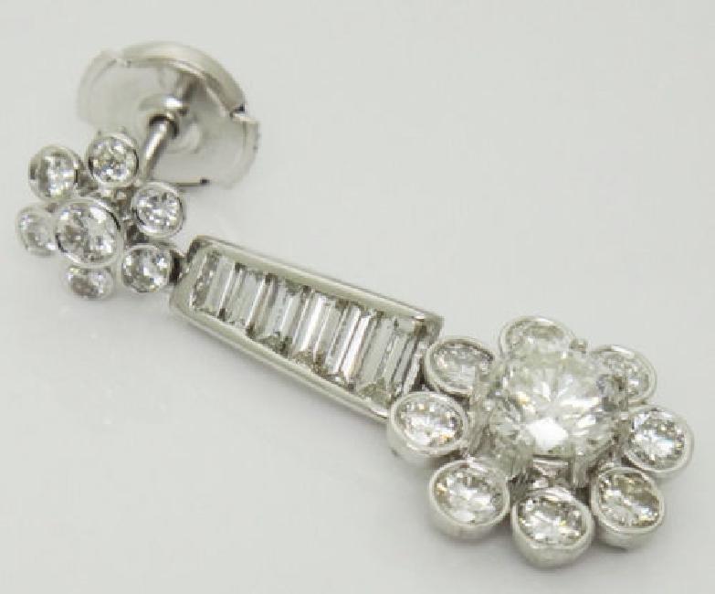 Beautiful 3.40TCW Diamond & 18k White Gold Dangle Drop - 3