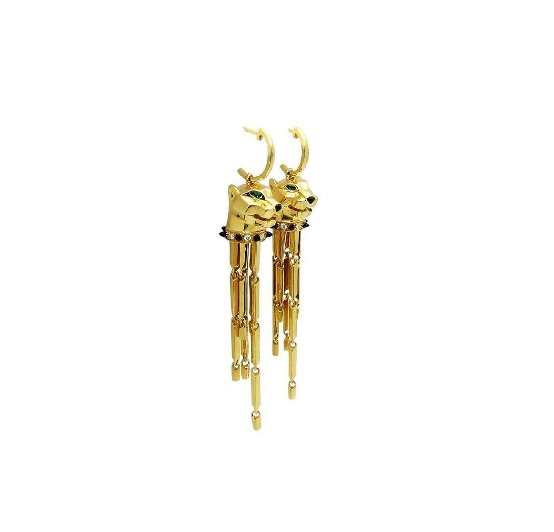 Cartier 18k Yellow Gold Panthere Earrings - 2