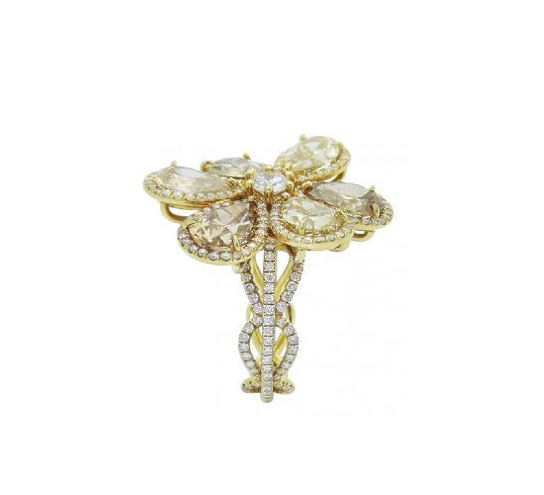 18k Yellow Gold 8.40 TCW Fancy Pear Shape Diamond Ring - 4