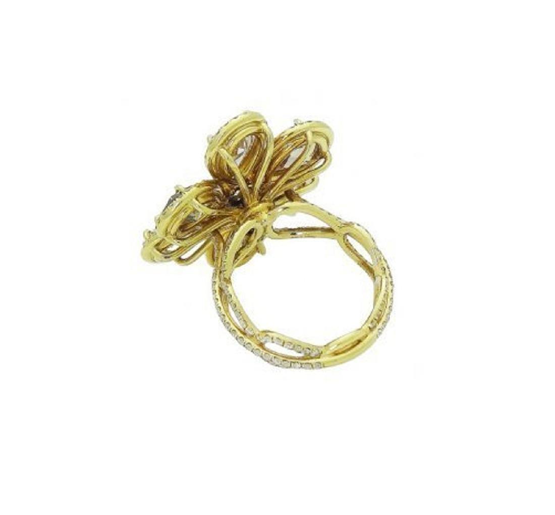 18k Yellow Gold 8.40 TCW Fancy Pear Shape Diamond Ring - 5