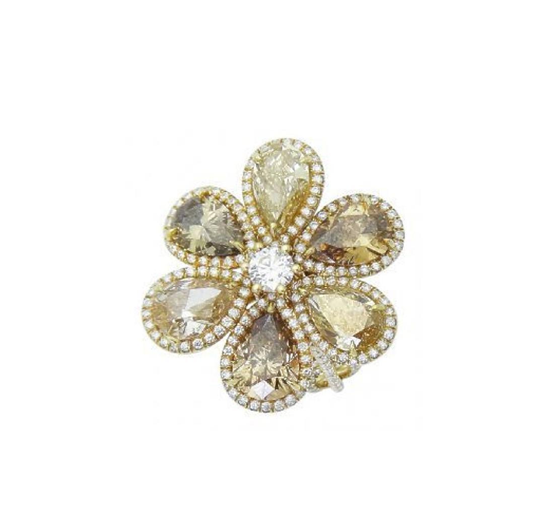 18k Yellow Gold 8.40 TCW Fancy Pear Shape Diamond Ring - 6