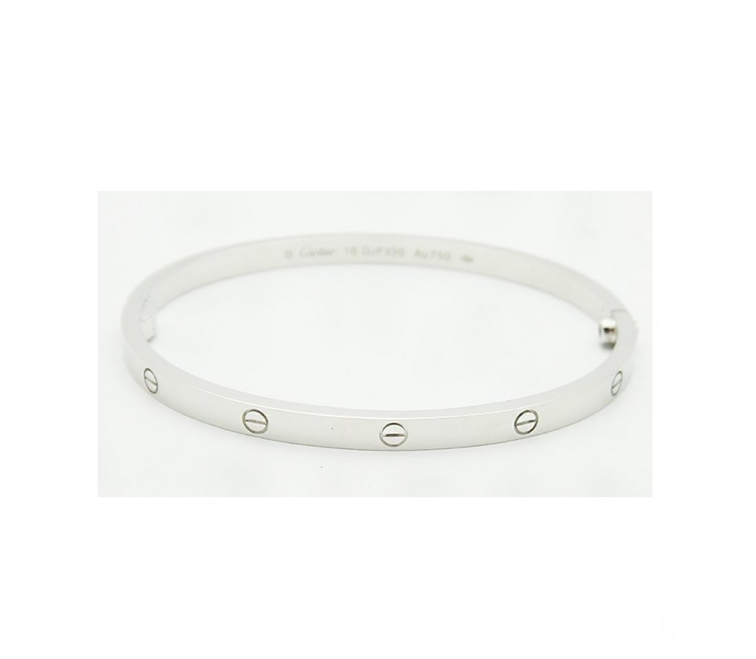 Cartier 18K White Gold LOVE Small Bracelet