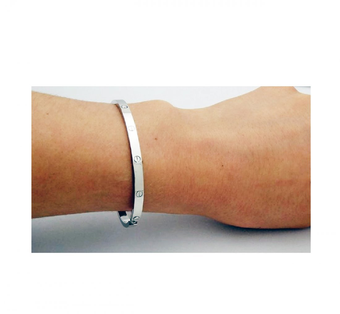 Cartier 18K White Gold LOVE Small Bracelet - 2