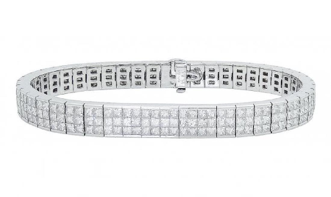 18k White Gold 13.00 TCW Princess Cut Diamond Bracelet