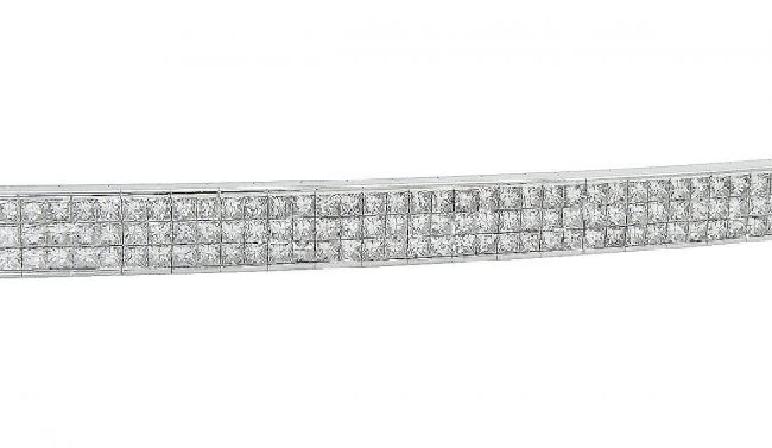 18k White Gold 13.00 TCW Princess Cut Diamond Bracelet - 2
