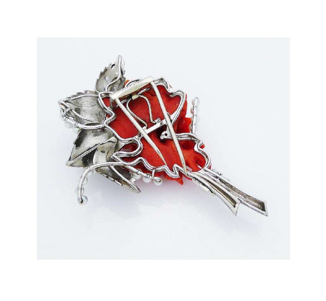 Estate Cartier Plat Enamel Coral Natural Pearl Brooch - 2