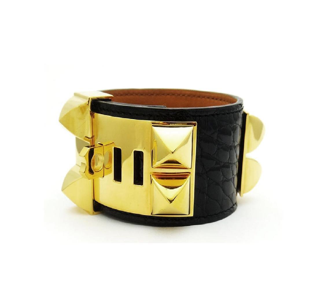 Hermes Collier de Chien Black Alligator Leather