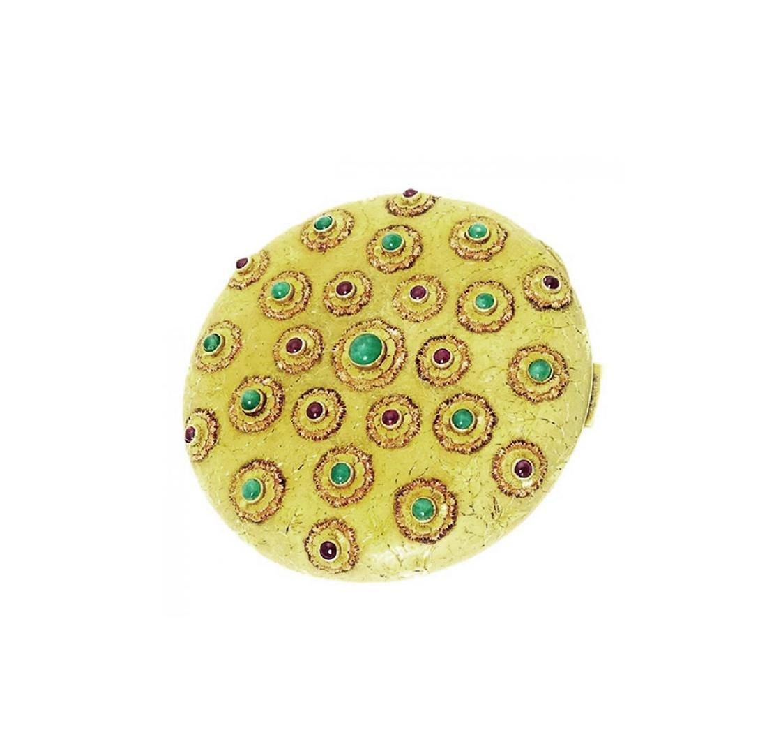 18k Gold Compact Makeup Case Emeralds Diamonds Rubies